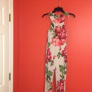 Pants - Nude Floral Jumpsuit